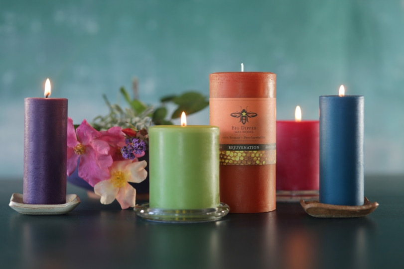 Big Dipper Wax Works beautiful line of bees wax candles.
